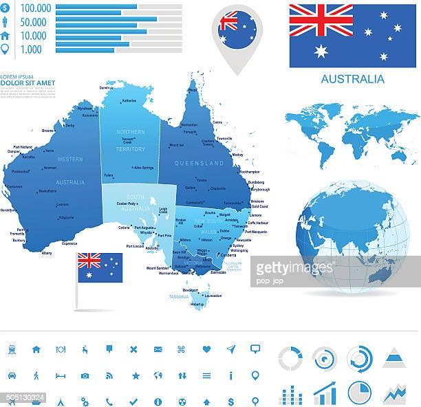 Austrália-Infográfico ilustração do mapa