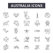 Australia line icons, signs set, vector. Australia outline concept, illustration: australia,map,isolated,travel,sydney,australian,country