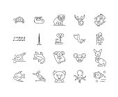 Australia line icons, signs, vector set, outline illustration concept