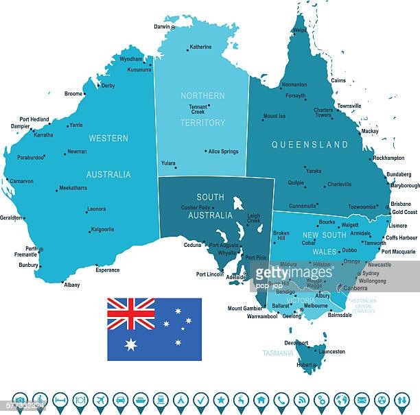 Australia Map and Navigation Icons