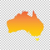 Australia map. Colorful orange vector illustration