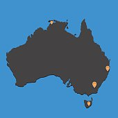 Australia map dark with markers on blue background