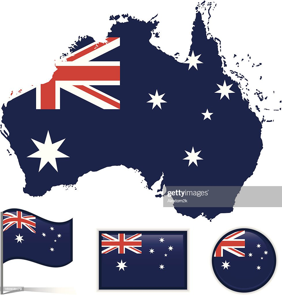 Australia Map And Flag.Australia Map Flag Stock Illustration Getty Images