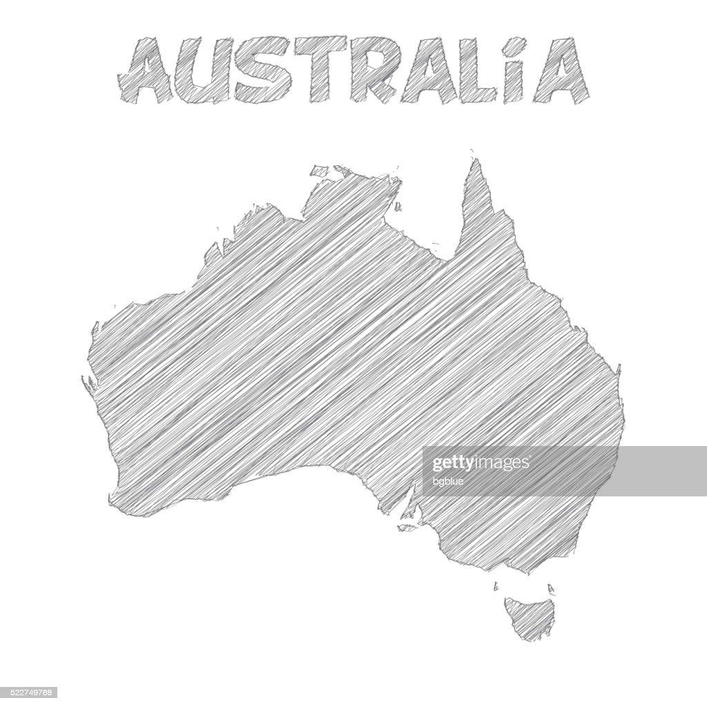 Australia map hand drawn on white background