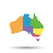 Australia map icon. Flat vector illustration. Australia sign symbol with shadow on white background.