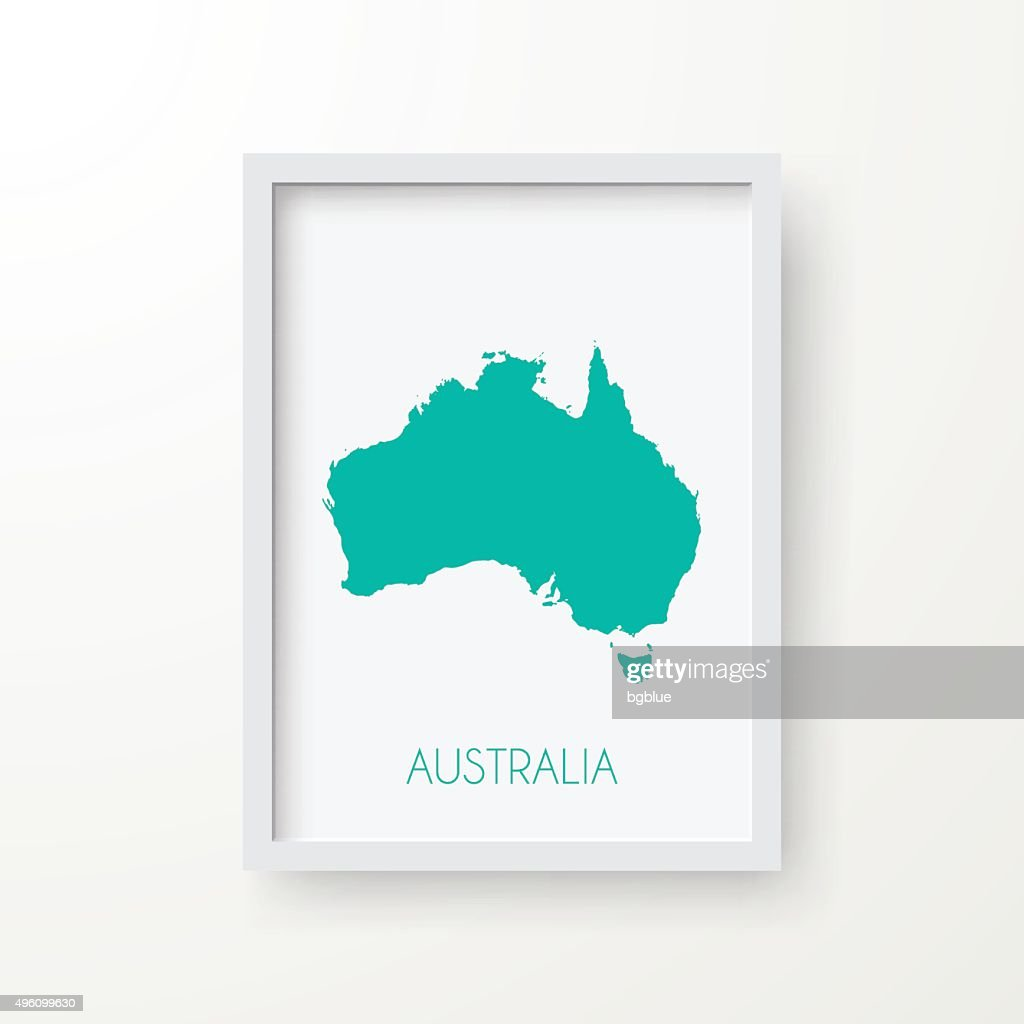 Australia Map In Frame On White Background Vector Art | Getty Images