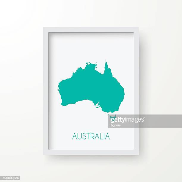 Australia Map in Frame on White Background