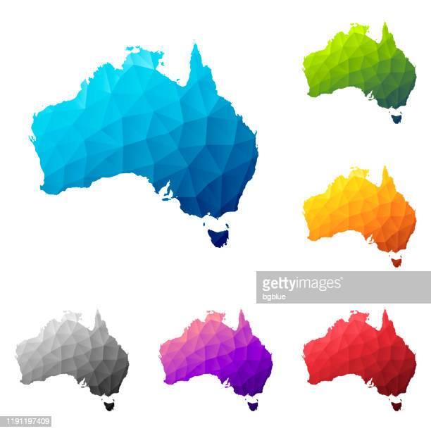 australia map in low poly style - colorful polygonal geometric design - australia stock illustrations