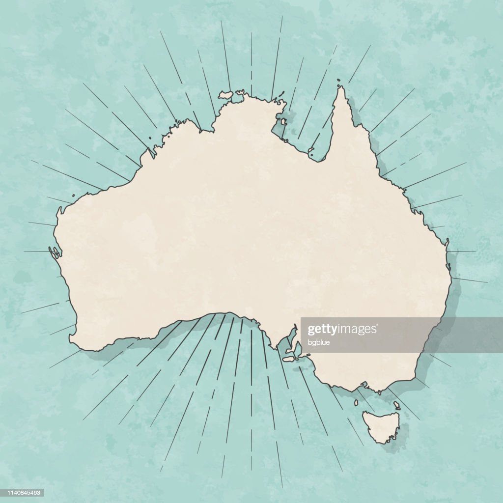Australia map in retro vintage style - Old textured paper : Stock Illustration