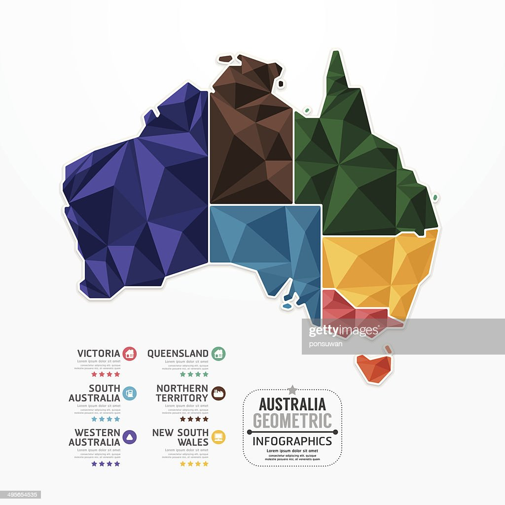 Australia Map Infographic Template geometric concept banner.