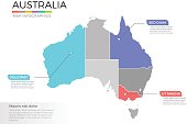 Australia map infographics vector template with regions and pointer marks