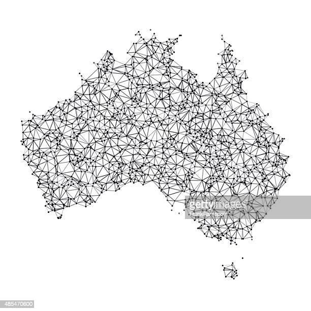Australia Map Network Black And White
