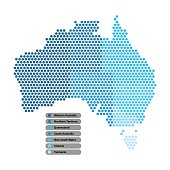 Australia Map of circle shape with the provinces colored in bright colors on white background. Vector illustration dotted style.