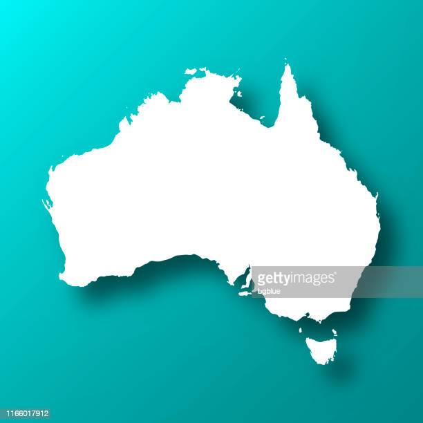 illustrazioni stock, clip art, cartoni animati e icone di tendenza di australia map on blue green background with shadow - australia