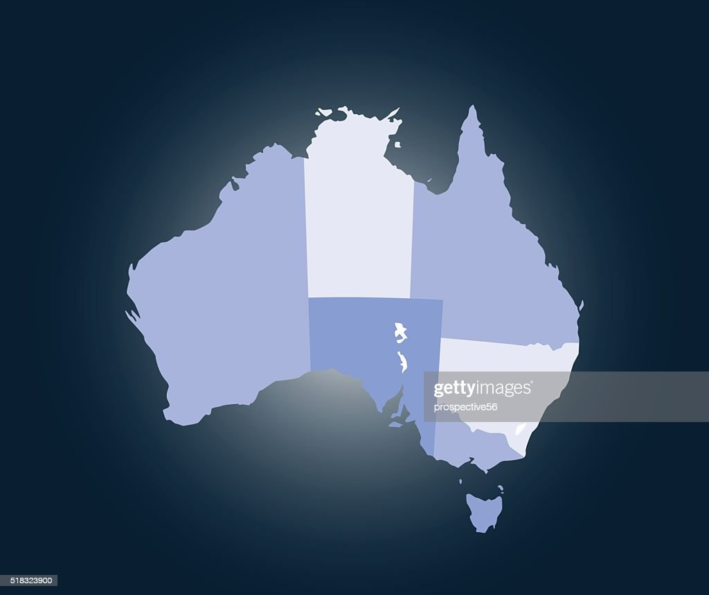 Australia map outline vector illustration in blue background