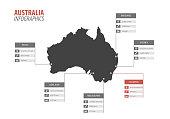 Australia map shape vector infographics template. Modern city region data statistic illustration concept