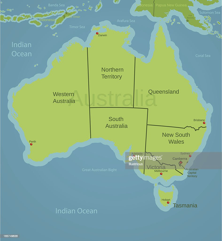 australia map showing states vector art getty images