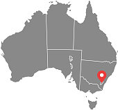 Australia map vector outline illustration with provinces or states borders and capital location, Canberra, in gray background. Highly detailed accurate map of Australia prepared by a map expert.