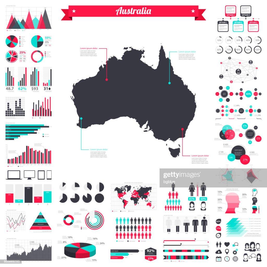 Australia map with infographic elements - Big creative graphic set : Stock Illustration