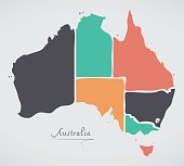 Australia Map with modern round shapes