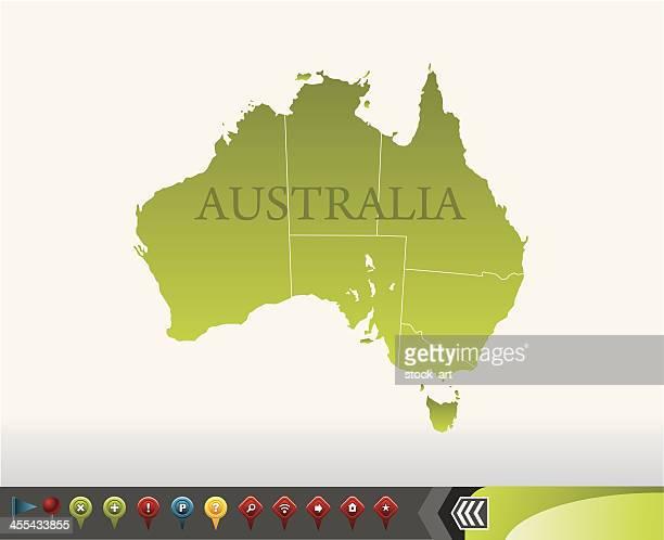 stockillustraties, clipart, cartoons en iconen met australia map with navigation icons - australian capital territory