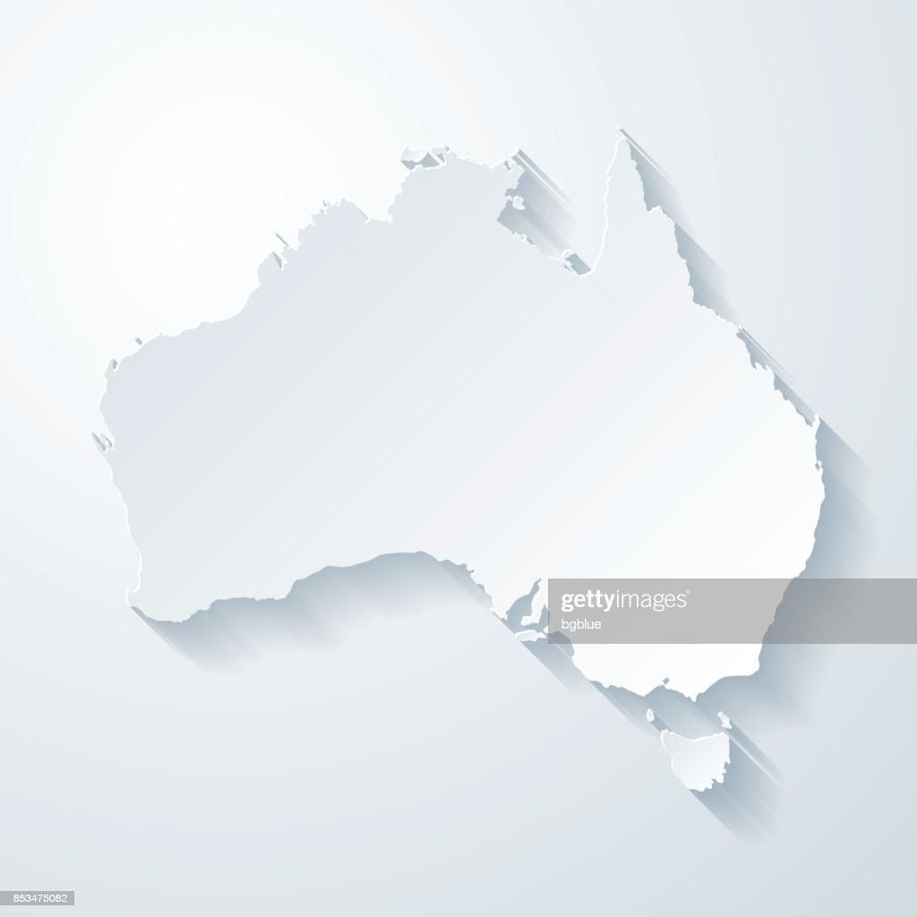 Australia map with paper cut effect on blank background : Stock Illustration