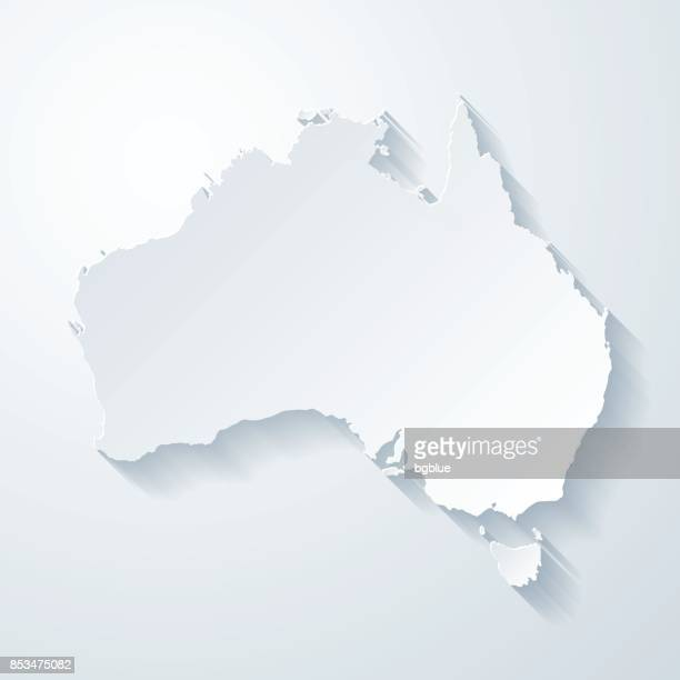 illustrazioni stock, clip art, cartoni animati e icone di tendenza di australia map with paper cut effect on blank background - australia