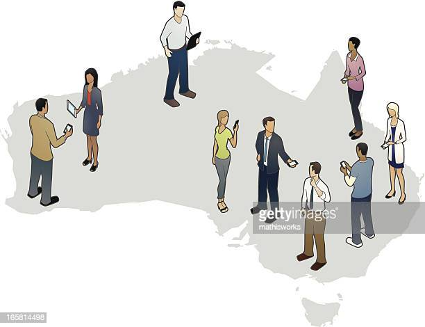 australia map with people - mathisworks stock illustrations