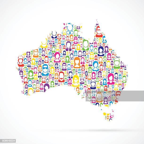 Australien Karte mit Personen