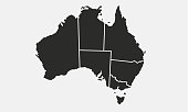 Australia map with regions isolated on a white background. Australian map. Vector illustration