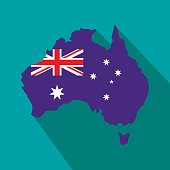 Australia map with the image of the national flag icon