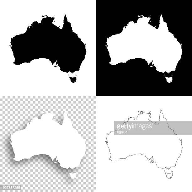 australia maps for design - blank, white and black backgrounds - australia stock illustrations