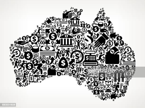 australia money and finance black and white icon background - financial technology stock illustrations, clip art, cartoons, & icons