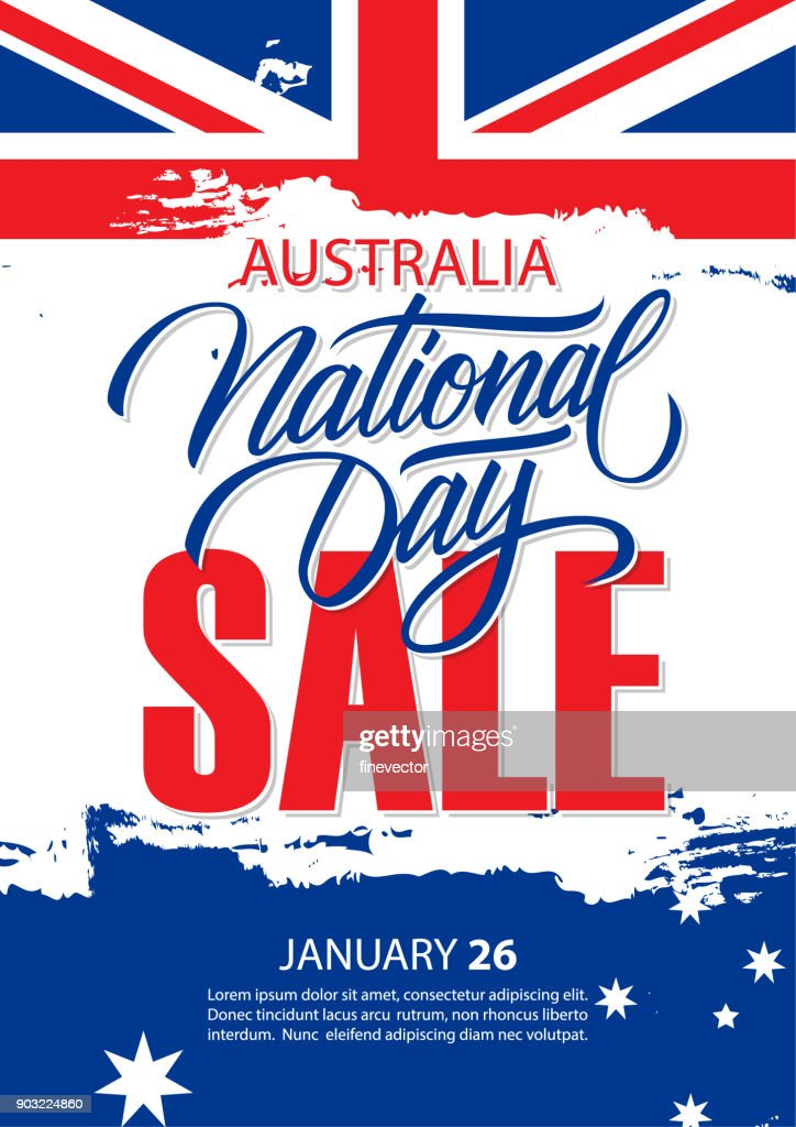 Australia National Day, january 26, Sale special offer poster with Australian National Flag brush stroke and hand lettering for business, promotion and advertising.