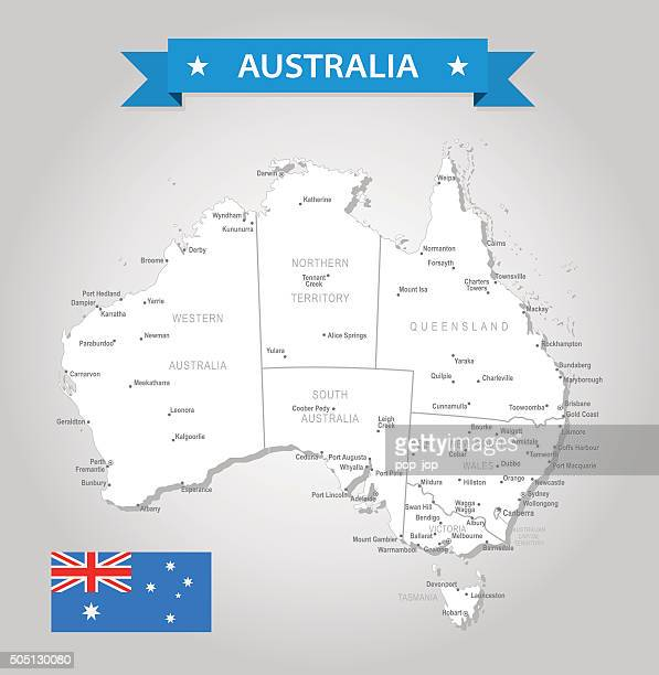 Australia - old-fashioned map - Illustration