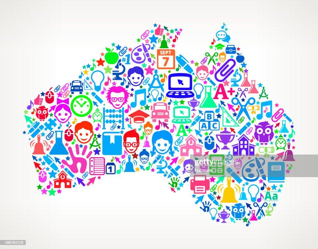 Australia On School and Education Icon Pattern : Stock Illustration