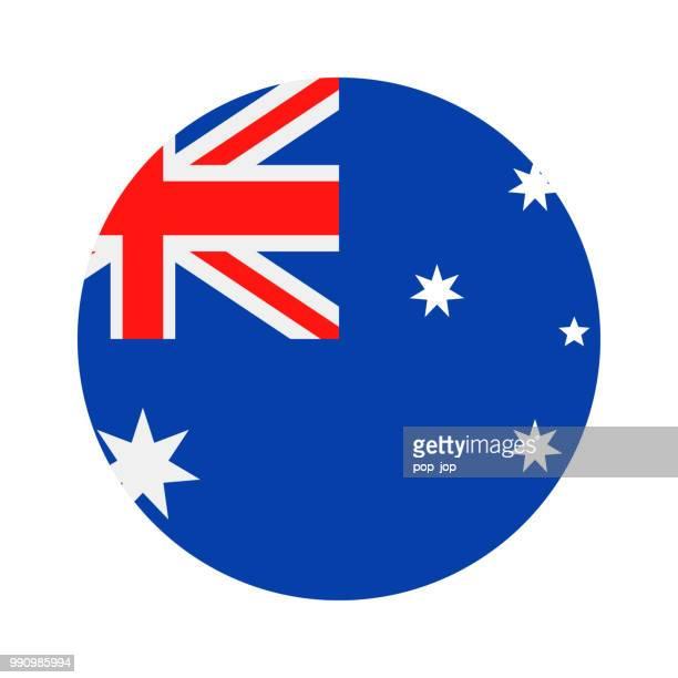 australia - round flag vector flat icon - australian flag stock illustrations