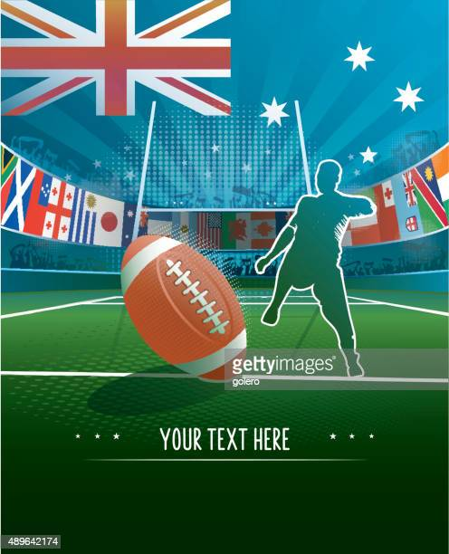 australia rugby stadium background - rugby ball stock illustrations, clip art, cartoons, & icons