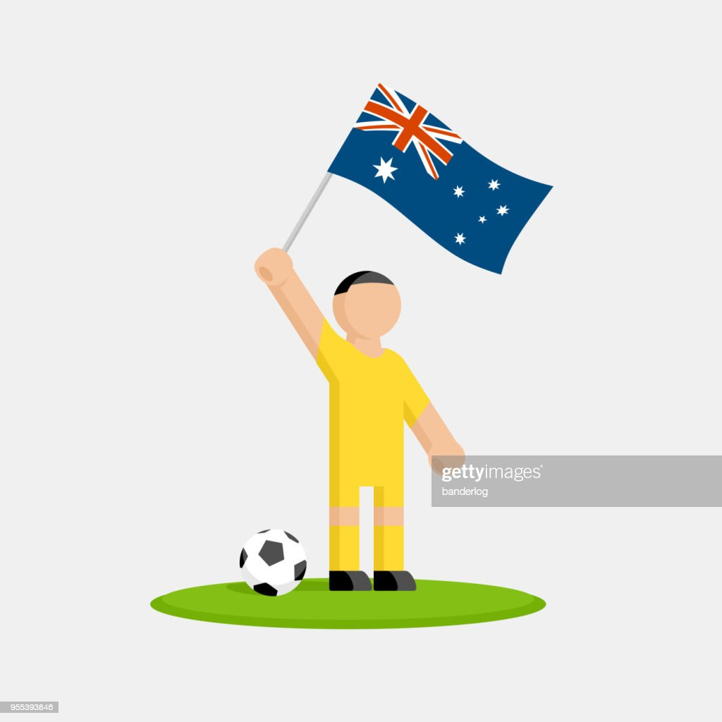 Australia soccer player in kit with flag and ball