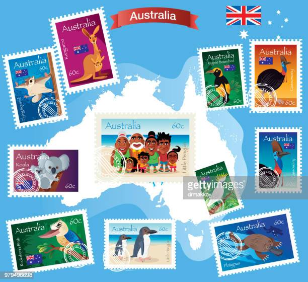 australia stamp - australia stock illustrations