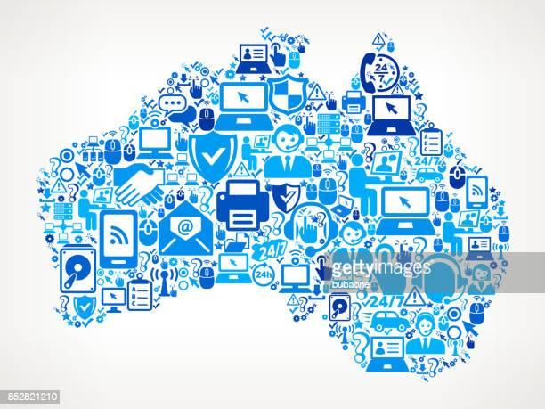 Australia Tech Support Vector Icon Pattern