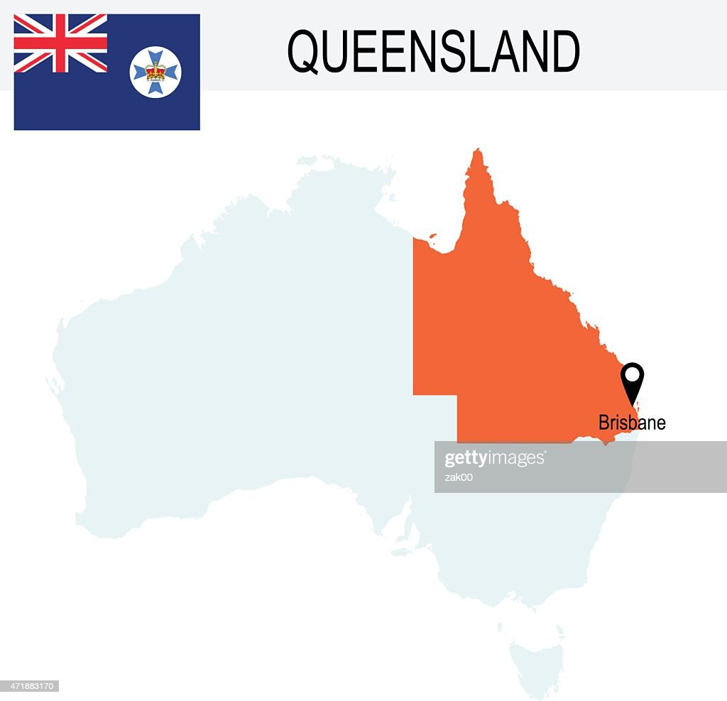 Australia Territories Of Queensland's map and Flag