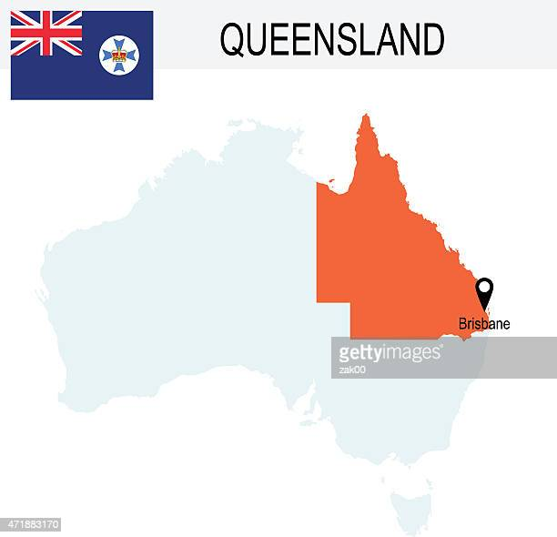 illustrazioni stock, clip art, cartoni animati e icone di tendenza di territori del queensland in australia mappa e bandiera - queensland