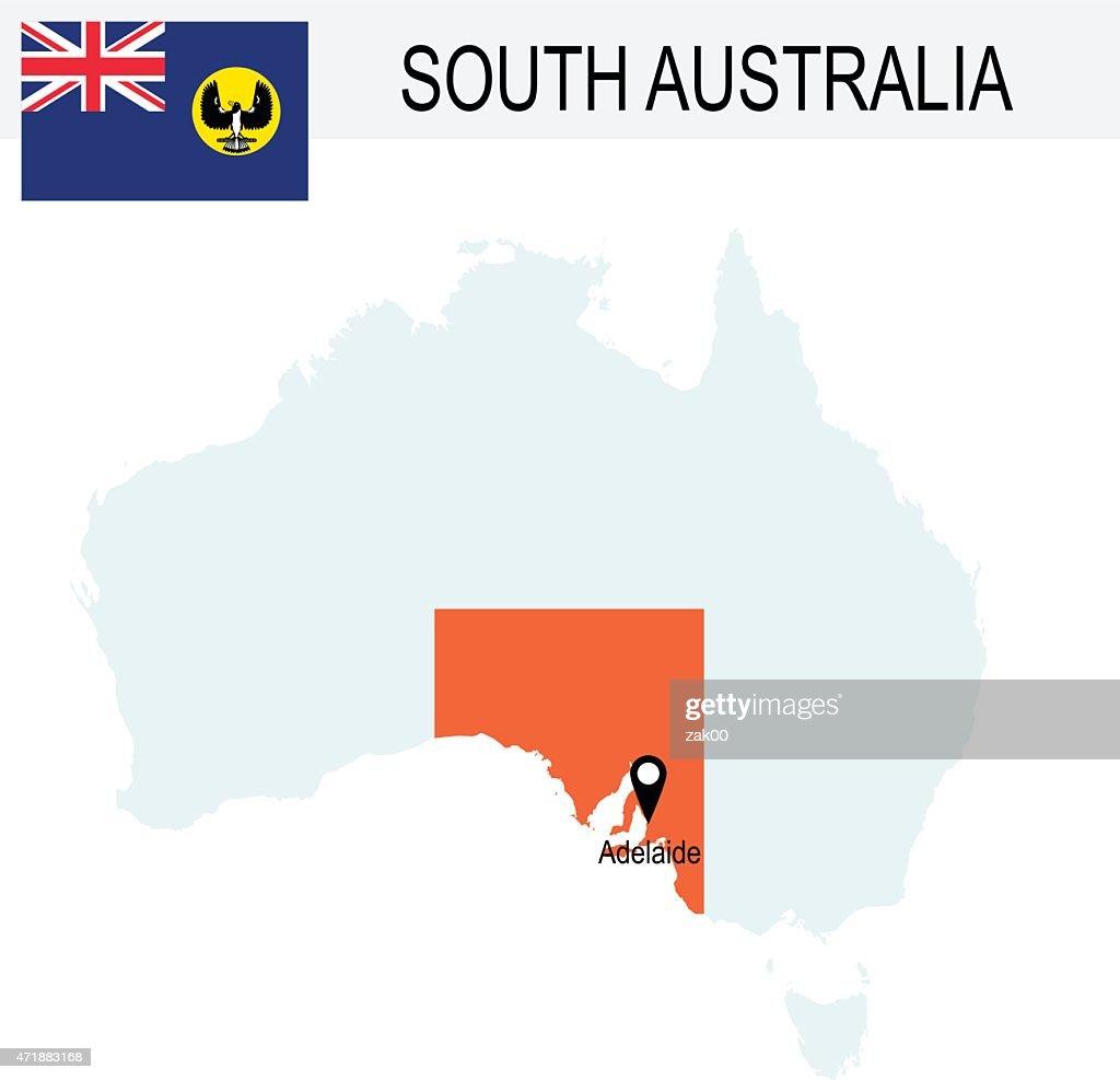 Australia Map And Flag.Australia Territories Of South Australias Map And Flag Stock