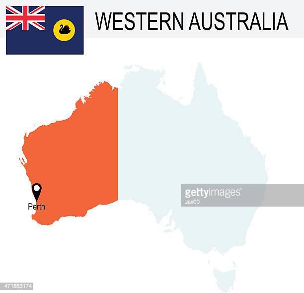 australia territories of western australia's map and flag - western australia stock illustrations
