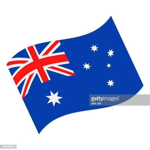 australia - waving flag vector flat icon - australian flag stock illustrations
