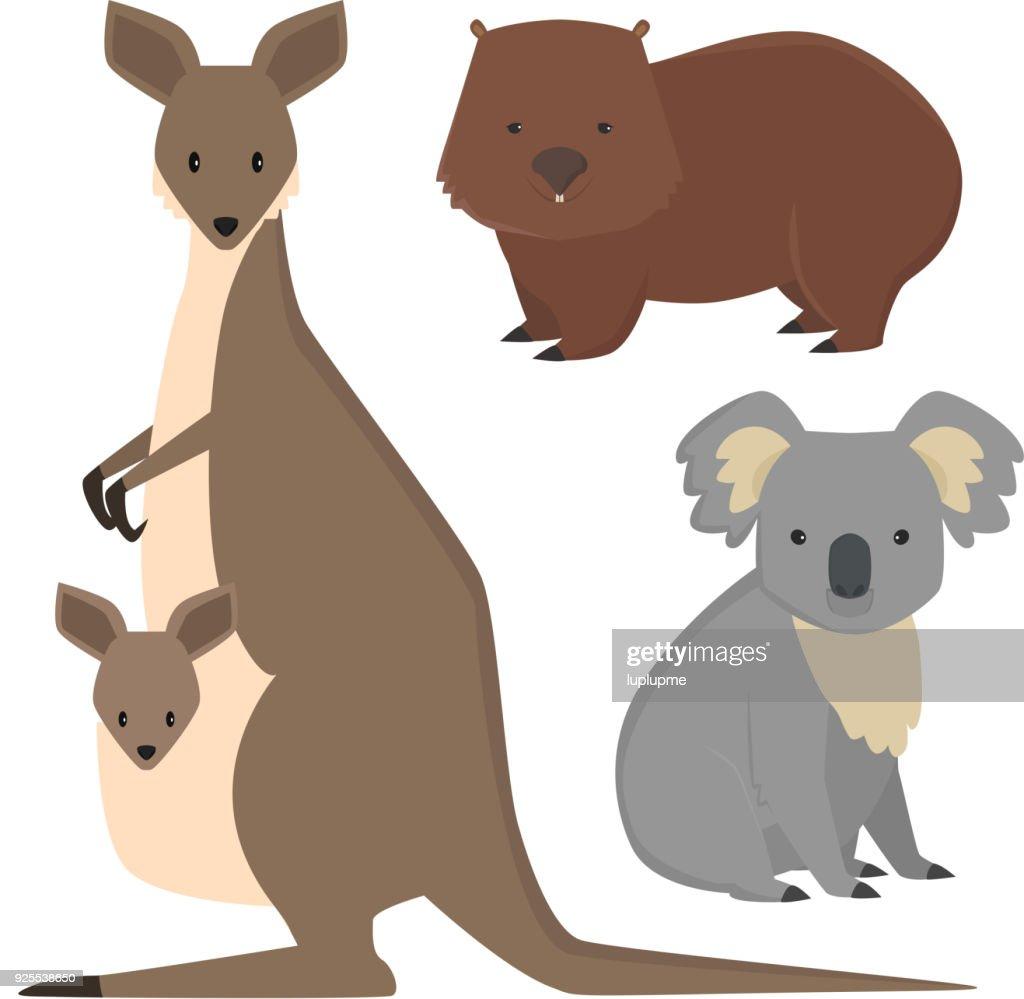 Australia wild animals cartoon popular nature characters flat style mammal collection vector illustration