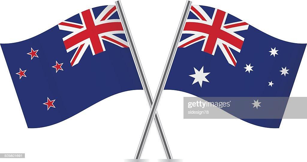 Australian and New Zealand flags. Vector.