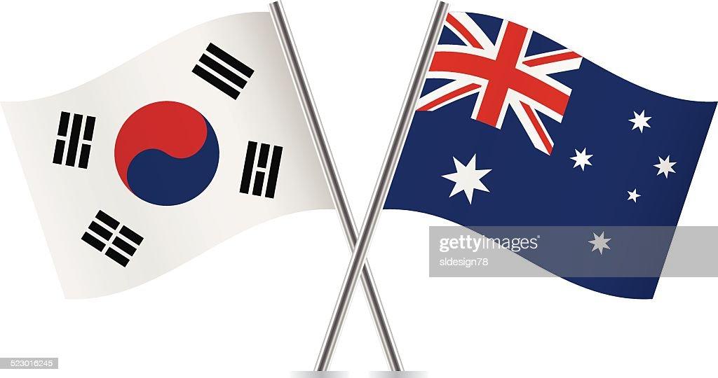 Australian and South Korean flags. Vector.