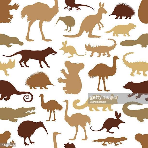 australian animal pattern - animal markings stock illustrations